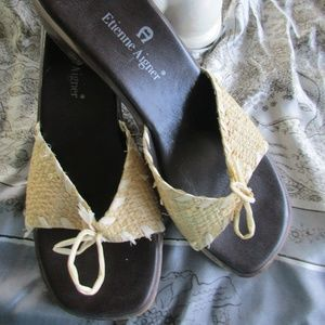 Etienne Aigner Straw Sandals Chunky Wedge Heel 6M